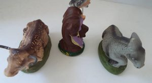 3 Nativity paper mache Nativity figurines donkey cow Joseph 4″ replacement