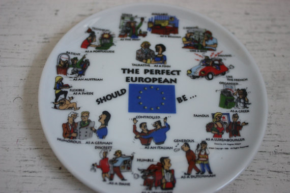 Vintage Europe Souvenir Plate, The Perfect European Should , , Humorous Expressions, Europe