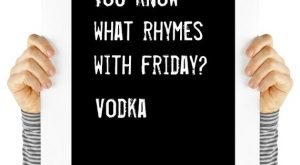 Friday quote, vodka, humor, digital download, typography, art print, black and white, wall...