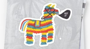 "'Let's Hit It! Funny colorful piñata donkey ' Sticker by shoshannahscribbles #pinata "">…"