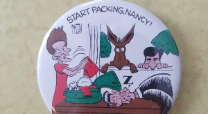 1984 political pin Ronald Reagan, Nancy Reagan, Walter Mondale and democratic donkey funny cartoon…