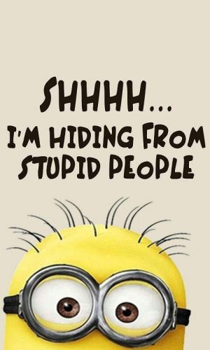 Funny Minion, Shhhh I am hiding from stupid people 。◕‿◕。