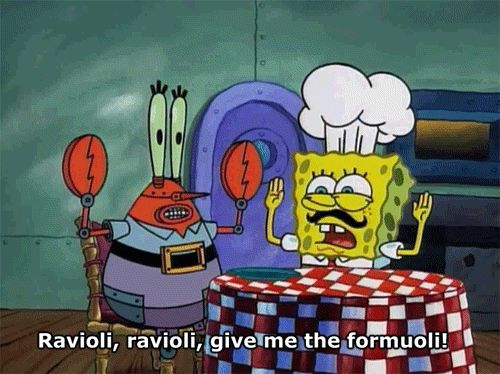 "When someone says ravioli, I say this like #SpongebobSquarepants search Pinterest"" #SpongebobSquarepants right after…"