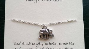 Silver elephant necklace, best friend, friendship necklace, friendship charm, thin necklace, small elephant, birthday…