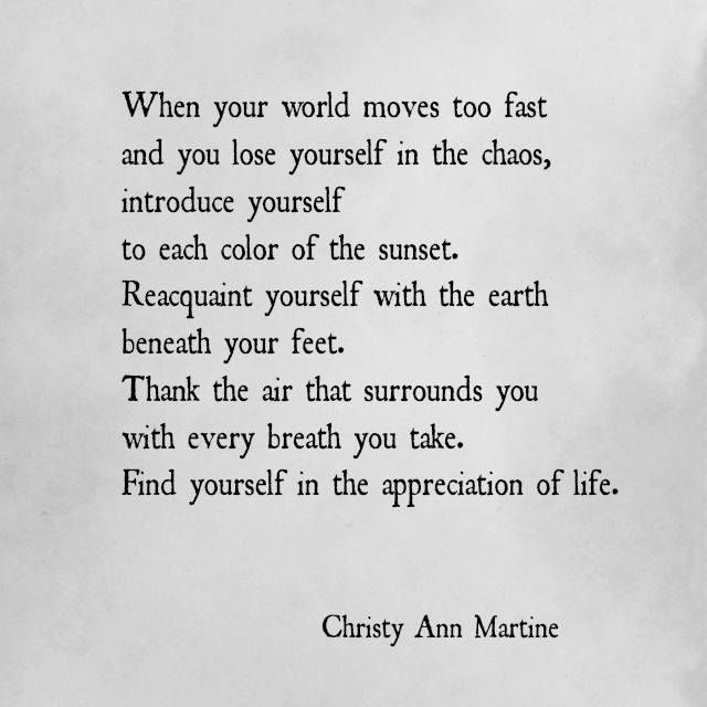 Poems and Quotes by Christy Ann Martine – Nature – World Moves to Fast…