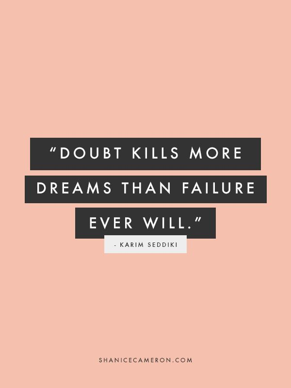 We learn from our fails, but when we chose to doubt, we will never…