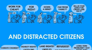 Desperate, Family, and Pizza: DESPERATE PEOPLE MONTHS NO NEWSTART (DEB HIGH STUDENT DEBT ATSI PROGRAMS CUT HIGH MED FEES 40 JOB APPS A MONTH MAKE IDEAL WORKERS WORK FOR CHEAP? OK FOR PIZZA? SELL US YOUR LAND IF WE CREATE JOBS ON IT? DOWN A MINE? FAR FROM FAMILY? OK AND DISTRACTED CITIZENS LONG-TERM PROBLEMS? I GOT SHORT-TERM PROBLEMS! DISABILITY RIGHTS?LAND RIGHTS? CLIMATE CHANGE? I GOTTA PAY RENT! I NEED TO FEED MY KIDS! BILLS TO PAY! REFUGEES? 'VE GOT MEDICAL I GOTTA FIND A JOB!