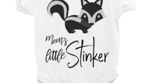 Little stinker bodysuit, snapsuit has a skunk and funny quote in cursive. This comfortable...