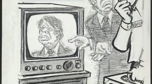 """Herblock ~ Jimmy Carter and Gerald Rafshoon (""""It Comes Out Fuzzy!"""")"""