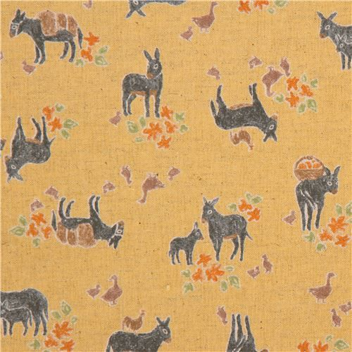 yellow cute donkey chicken duck animal canvas fabric from Japan 1