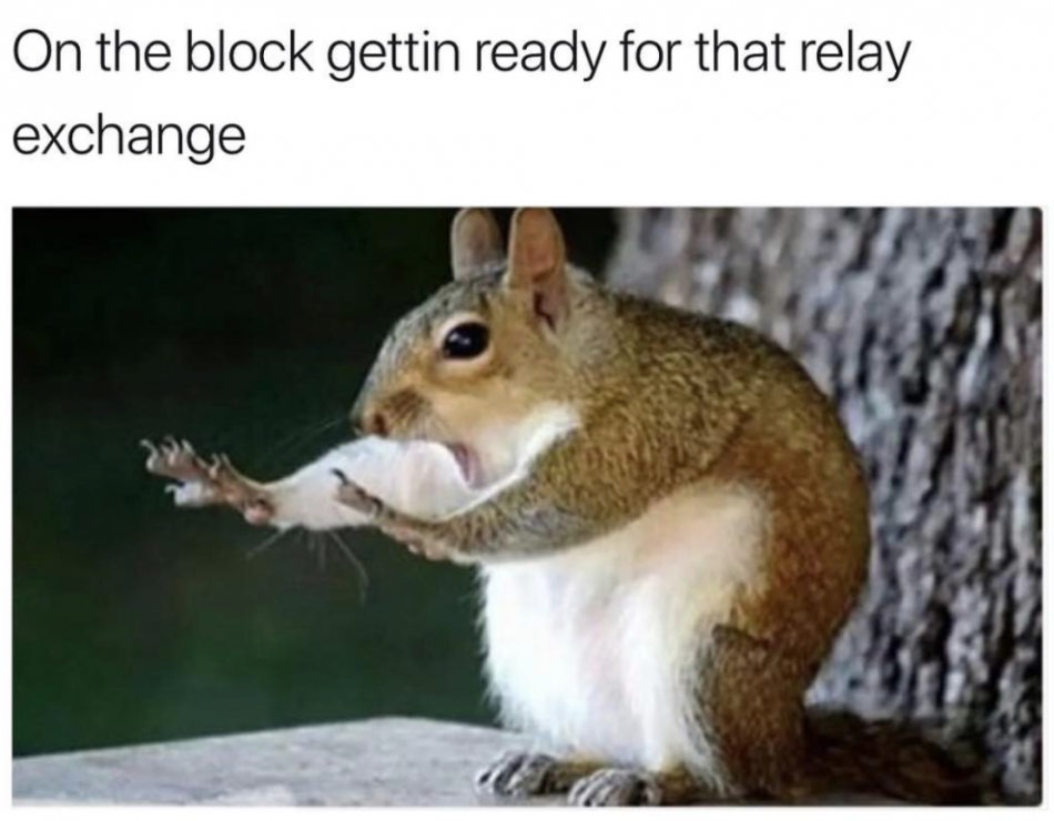 This is what you're like when you're about to do a relay start: