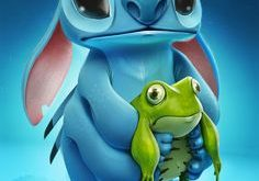 Stitch and frog by S