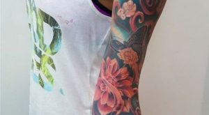 lovely colored left sleeve tattoo