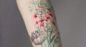 lovely colored left sleeve tattoos for young girl