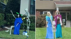 Family changes skeleton setup every day in October and we need more neighbors like these