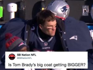 Tom Brady's comically large sideline coat got even bigger