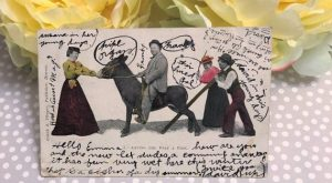 What makes this antique postcard so special is all the writing on the front.…