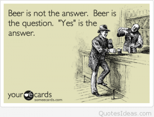 beer quote postcard