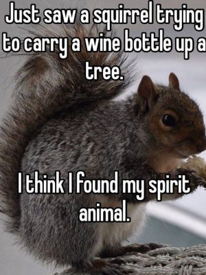 funny squirrel tree wine bottle
